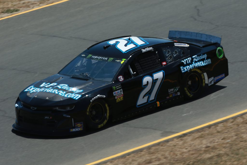 SONOMA, CALIFORNIA - JUNE 21: Reed Sorenson, driver of the #27 VIPRacingExperience.com Chevrolet, practices for the Monster Energy NASCAR Cup Series Toyota/Save Mart 350 at Sonoma Raceway on June 21, 2019 in Sonoma, California. (Photo by Sean Gardner/Getty Images)   Getty Images