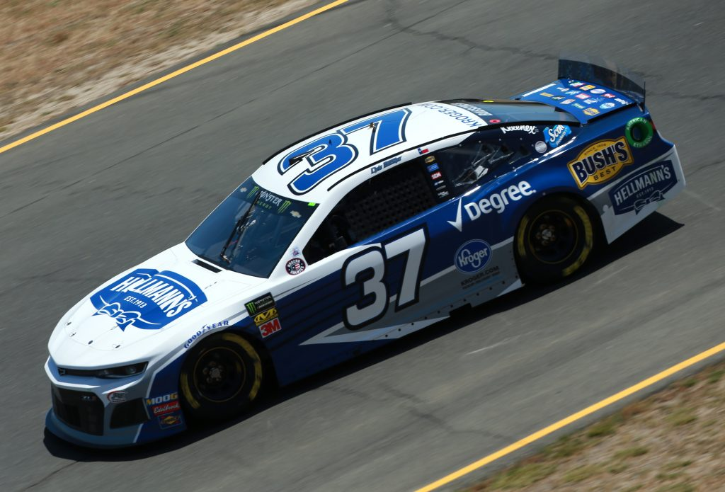 SONOMA, CALIFORNIA - JUNE 21: Chris Buescher, driver of the #37 Hellmann's Chevrolet, practices for the Monster Energy NASCAR Cup Series Toyota/Save Mart 350 at Sonoma Raceway on June 21, 2019 in Sonoma, California. (Photo by Sean Gardner/Getty Images) | Getty Images