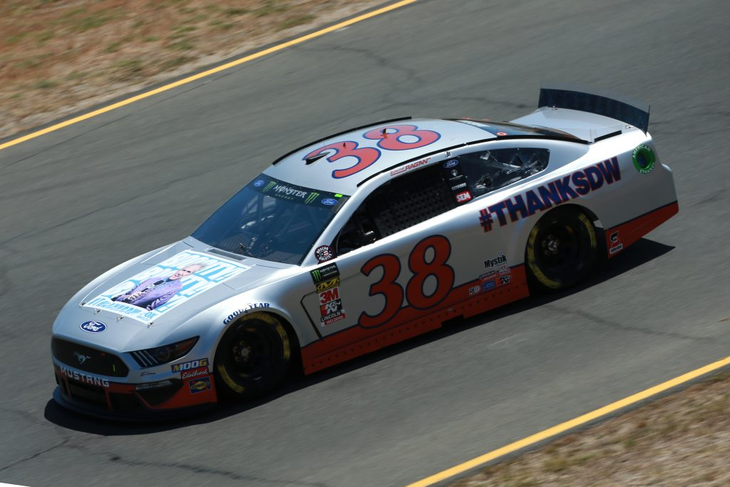 SONOMA, CALIFORNIA - JUNE 21: David Ragan, driver of the #38 hanksDW Ford, practices for the Monster Energy NASCAR Cup Series Toyota/Save Mart 350 at Sonoma Raceway on June 21, 2019 in Sonoma, California. (Photo by Sean Gardner/Getty Images) | Getty Images