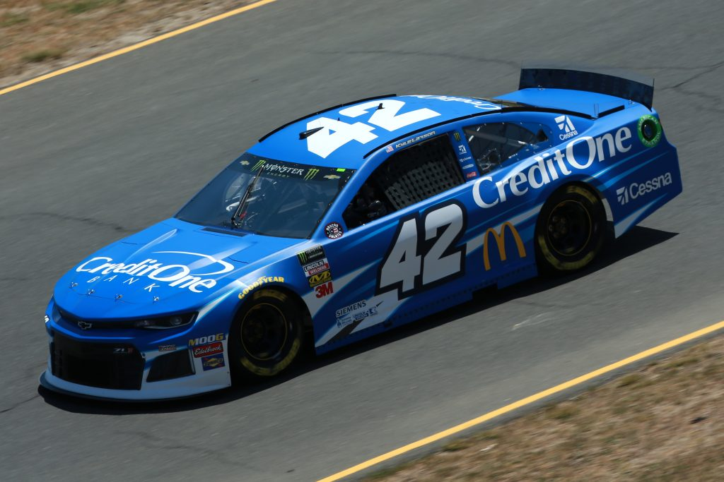 SONOMA, CALIFORNIA - JUNE 21: Kyle Larson, driver of the #42 Credit One Bank Chevrolet, practices for the Monster Energy NASCAR Cup Series Toyota/Save Mart 350 at Sonoma Raceway on June 21, 2019 in Sonoma, California. (Photo by Sean Gardner/Getty Images)   Getty Images