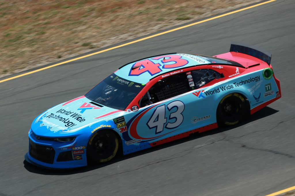 SONOMA, CALIFORNIA - JUNE 21: Bubba Wallace, driver of the #43 World Wide Technology Chevrolet, practices for the Monster Energy NASCAR Cup Series Toyota/Save Mart 350 at Sonoma Raceway on June 21, 2019 in Sonoma, California. (Photo by Sean Gardner/Getty Images) | Getty Images