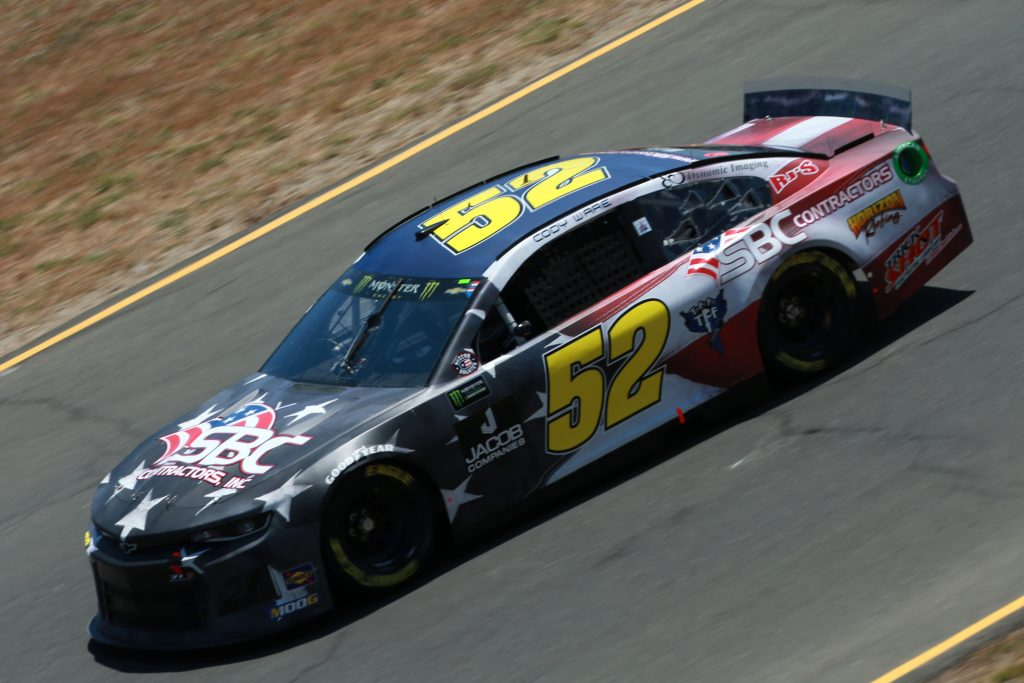 SONOMA, CALIFORNIA - JUNE 21: Cody Ware, driver of the #52 SBC Contractors Chevrolet, practices for the Monster Energy NASCAR Cup Series Toyota/Save Mart 350 at Sonoma Raceway on June 21, 2019 in Sonoma, California. (Photo by Sean Gardner/Getty Images) | Getty Images