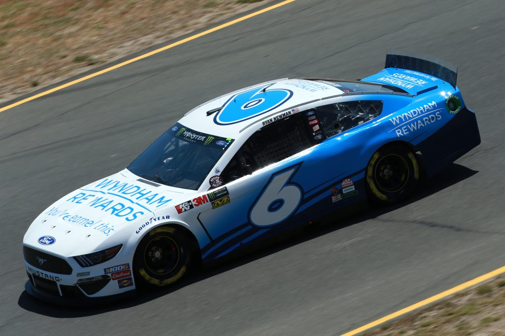 SONOMA, CALIFORNIA - JUNE 21: Ryan Newman, driver of the #6 Wyndham Rewards Ford, practices for the Monster Energy NASCAR Cup Series Toyota/Save Mart 350 at Sonoma Raceway on June 21, 2019 in Sonoma, California. (Photo by Sean Gardner/Getty Images)   Getty Images
