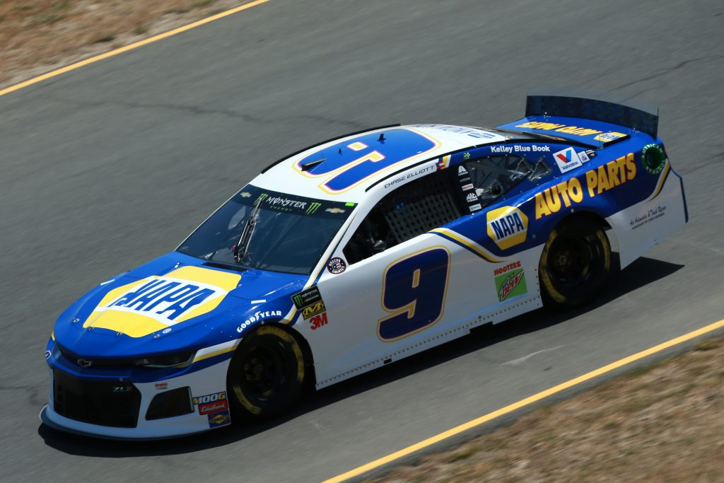 SONOMA, CALIFORNIA - JUNE 21: Chase Elliott, driver of the #9 NAPA Auto Parts Chevrolet, practices for the Monster Energy NASCAR Cup Series Toyota/Save Mart 350 at Sonoma Raceway on June 21, 2019 in Sonoma, California. (Photo by Sean Gardner/Getty Images) | Getty Images