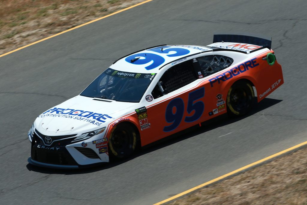 SONOMA, CALIFORNIA - JUNE 21: Matt DiBenedetto, driver of the #95 Procore Thanks DW Throwback Toyota, practices for the Monster Energy NASCAR Cup Series Toyota/Save Mart 350 at Sonoma Raceway on June 21, 2019 in Sonoma, California. (Photo by Sean Gardner/Getty Images)   Getty Images