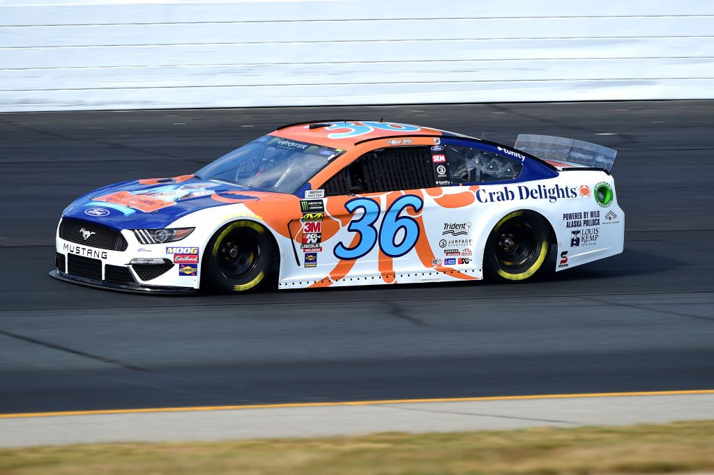 LOUDON, NEW HAMPSHIRE - JULY 19: Matt Tifft, driver of the #36 Louis Kemp Crab Delights Ford, qualifies for the Monster Energy NASCAR Cup Series Foxwoods Resort Casino 301 at New Hampshire Motor Speedway on July 19, 2019 in Loudon, New Hampshire. (Photo by Jared C. Tilton/Getty Images) | Getty Images
