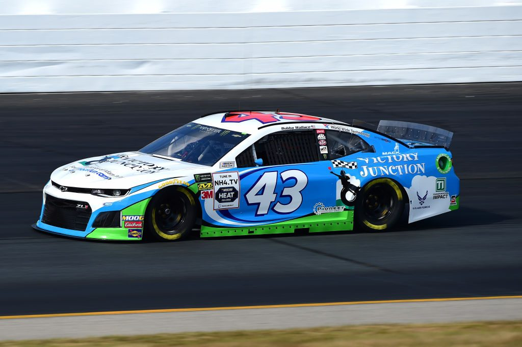 LOUDON, NEW HAMPSHIRE - JULY 19: Bubba Wallace, driver of the #43 Victory Junction Chevrolet, qualifies for the Monster Energy NASCAR Cup Series Foxwoods Resort Casino 301 at New Hampshire Motor Speedway on July 19, 2019 in Loudon, New Hampshire. (Photo by Jared C. Tilton/Getty Images) | Getty Images