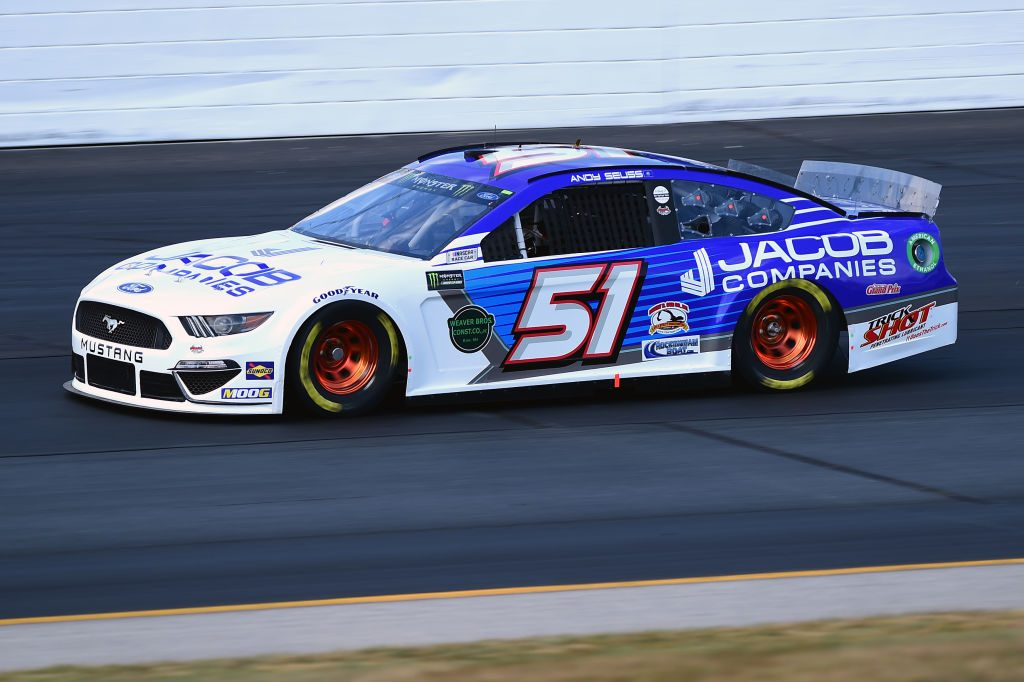 LOUDON, NEW HAMPSHIRE - JULY 19: Andy Seuss, driver of the #51 JACOB COMPANIES Ford, qualifies for the Monster Energy NASCAR Cup Series Foxwoods Resort Casino 301 at New Hampshire Motor Speedway on July 19, 2019 in Loudon, New Hampshire. (Photo by Jared C. Tilton/Getty Images) | Getty Images