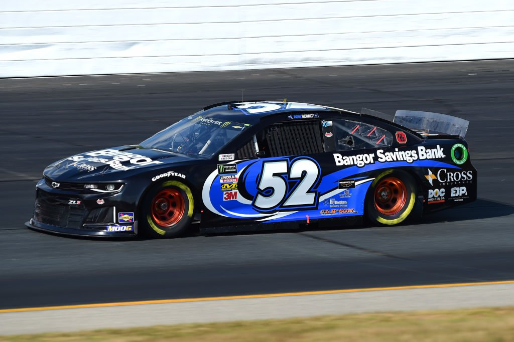 LOUDON, NEW HAMPSHIRE - JULY 19: Austin Theriault, driver of the #52 BANGOR SAVINGS BANK Chevrolet, qualifies for the Monster Energy NASCAR Cup Series Foxwoods Resort Casino 301 at New Hampshire Motor Speedway on July 19, 2019 in Loudon, New Hampshire. (Photo by Jared C. Tilton/Getty Images) | Getty Images