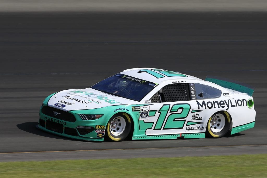 LONG POND, PENNSYLVANIA - JULY 27: Ryan Blaney, driver of the #12 MoneyLion Ford, qualifies for the Monster Energy NASCAR Cup Series Gander RV 400 at Pocono Raceway on July 27, 2019 in Long Pond, Pennsylvania. (Photo by Chris Trotman/Getty Images) | Getty Images