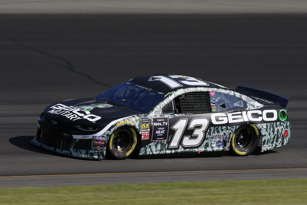 LONG POND, PENNSYLVANIA - JULY 27: Ty Dillon, driver of the #13 GEICO Military Chevrolet, qualifies for the Monster Energy NASCAR Cup Series Gander RV 400 at Pocono Raceway on July 27, 2019 in Long Pond, Pennsylvania. (Photo by Chris Trotman/Getty Images) | Getty Images