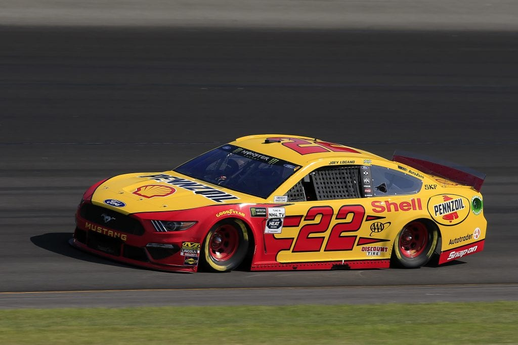 LONG POND, PENNSYLVANIA - JULY 27: Joey Logano, driver of the #22 Shell Pennzoil Ford, qualifies for the Monster Energy NASCAR Cup Series Gander RV 400 at Pocono Raceway on July 27, 2019 in Long Pond, Pennsylvania. (Photo by Chris Trotman/Getty Images) | Getty Images