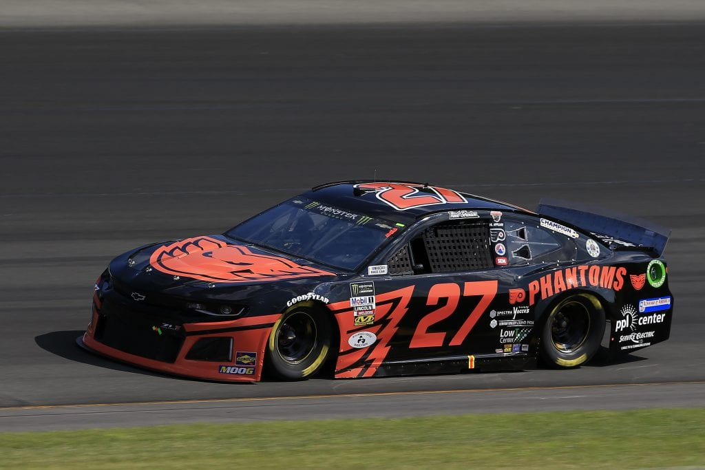 LONG POND, PENNSYLVANIA - JULY 27: Reed Sorenson, driver of the #27 Lehigh Valley Phantoms Chevrolet, qualifies for the Monster Energy NASCAR Cup Series Gander RV 400 at Pocono Raceway on July 27, 2019 in Long Pond, Pennsylvania. (Photo by Chris Trotman/Getty Images) | Getty Images