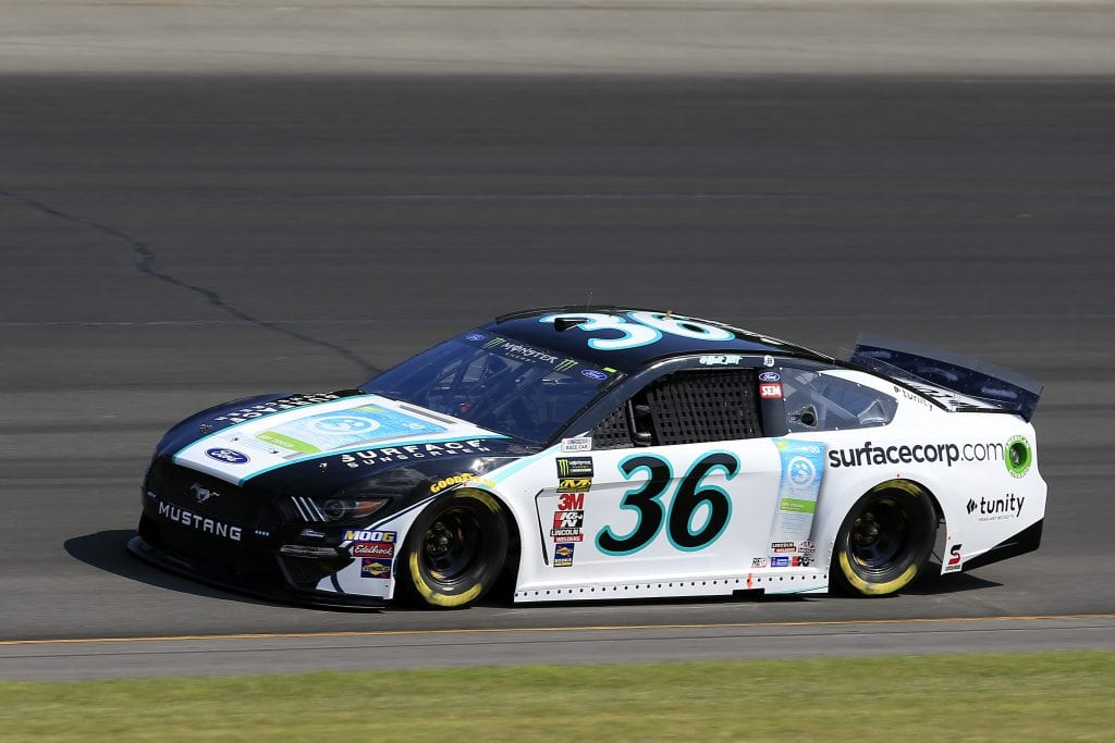 LONG POND, PENNSYLVANIA - JULY 27: Matt Tifft, driver of the #36 Surface Sunscreen Ford, qualifies for the Monster Energy NASCAR Cup Series Gander RV 400 at Pocono Raceway on July 27, 2019 in Long Pond, Pennsylvania. (Photo by Chris Trotman/Getty Images) | Getty Images