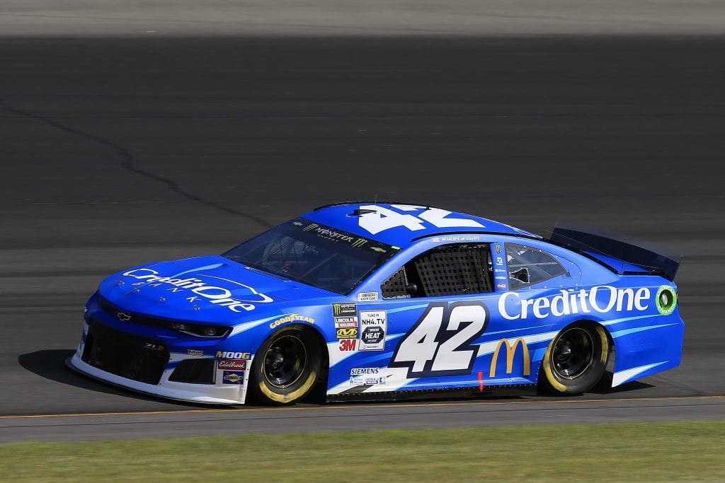 LONG POND, PENNSYLVANIA - JULY 27: Kyle Larson, driver of the #42 Credit One Bank Chevrolet, qualifies for the Monster Energy NASCAR Cup Series Gander RV 400 at Pocono Raceway on July 27, 2019 in Long Pond, Pennsylvania. (Photo by Chris Trotman/Getty Images) | Getty Images