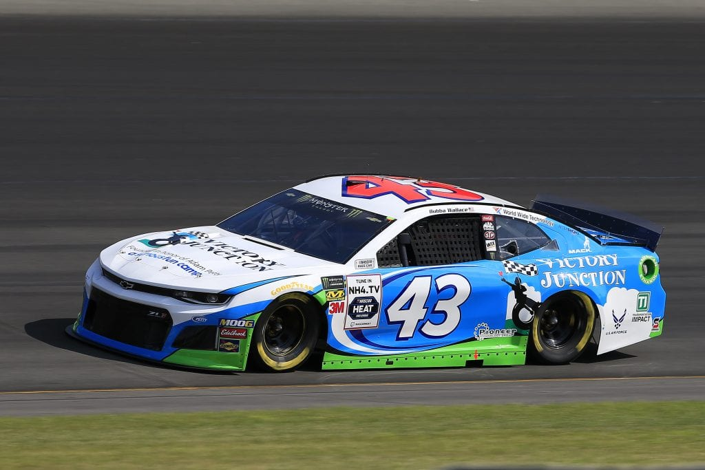 LONG POND, PENNSYLVANIA - JULY 27: Bubba Wallace, driver of the #43 Victory Junction Chevrolet, qualifies for the Monster Energy NASCAR Cup Series Gander RV 400 at Pocono Raceway on July 27, 2019 in Long Pond, Pennsylvania. (Photo by Chris Trotman/Getty Images) | Getty Images