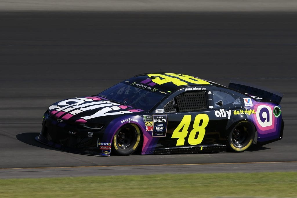 LONG POND, PENNSYLVANIA - JULY 27: Jimmie Johnson, driver of the #48 Ally Chevrolet, qualifies for the Monster Energy NASCAR Cup Series Gander RV 400 at Pocono Raceway on July 27, 2019 in Long Pond, Pennsylvania. (Photo by Chris Trotman/Getty Images) | Getty Images