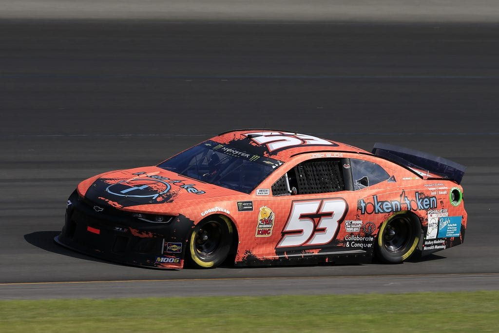 LONG POND, PENNSYLVANIA - JULY 27: Josh Bilicki, driver of the #53 Token 4 Token Chevrolet, qualifies for the Monster Energy NASCAR Cup Series Gander RV 400 at Pocono Raceway on July 27, 2019 in Long Pond, Pennsylvania. (Photo by Chris Trotman/Getty Images)   Getty Images