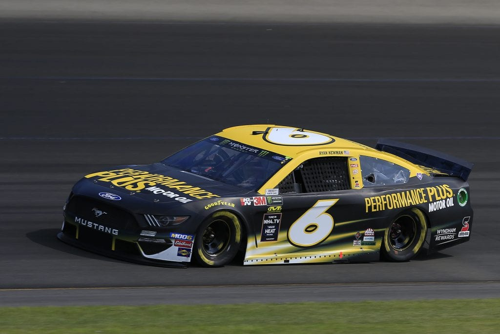 LONG POND, PENNSYLVANIA - JULY 27: Ryan Newman, driver of the #6 Performance Plus Ford, qualifies for the Monster Energy NASCAR Cup Series Gander RV 400 at Pocono Raceway on July 27, 2019 in Long Pond, Pennsylvania. (Photo by Chris Trotman/Getty Images) | Getty Images