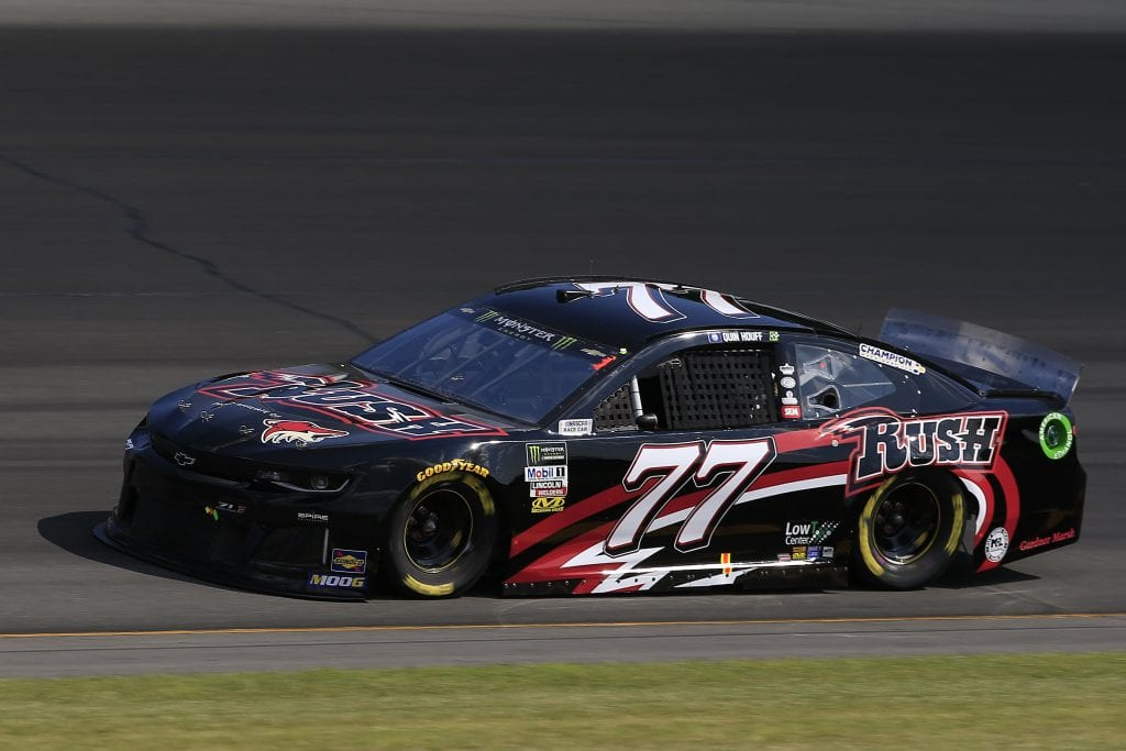 LONG POND, PENNSYLVANIA - JULY 27: Quin Houff, driver of the #77 Rapid City Rush Chevrolet, qualifies for the Monster Energy NASCAR Cup Series Gander RV 400 at Pocono Raceway on July 27, 2019 in Long Pond, Pennsylvania. (Photo by Chris Trotman/Getty Images) | Getty Images