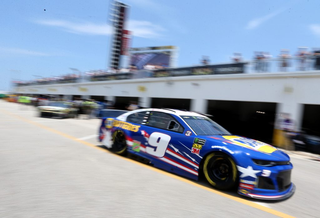 DAYTONA BEACH, FLORIDA - JULY 04: Chase Elliott, driver of the #9 NAPA Batteries Chevrolet, drives through the garage area during practice for the Monster Energy NASCAR Cup Series Coke Zero Sugar 400 at Daytona International Speedway on July 04, 2019 in Daytona Beach, Florida. (Photo by Brian Lawdermilk/Getty Images) | Getty Images