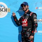 SPARTA, KENTUCKY - JULY 12: Daniel Suarez, driver of the #41 Haas Automation Ford, celebrates with the Busch Pole Award after qualifying for the Monster Energy NASCAR Cup Series Quaker State 400 Presented by Walmart at Kentucky Speedway on July 12, 2019 in Sparta, Kentucky. (Photo by Brian Lawdermilk/Getty Images) | Getty Images