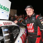SPARTA, KENTUCKY - JULY 12: Cole Custer, driver of the #00 Haas Automation Ford, poses with the winner's sticker in Victory Lane after the NASCAR Xfinity Series Alsco 300 at Kentucky Speedway on July 12, 2019 in Sparta, Kentucky. (Photo by Matt Sullivan/Getty Images)   Getty Images
