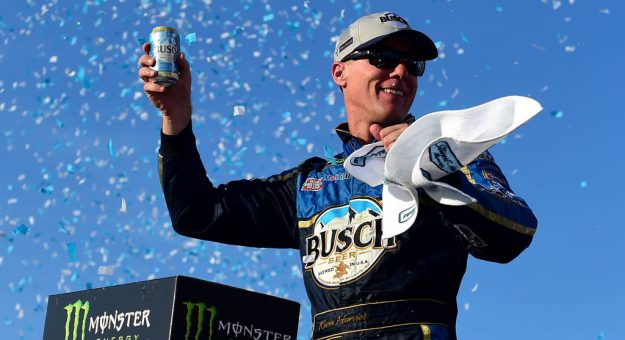 LOUDON, NEW HAMPSHIRE - JULY 21: Kevin Harvick, driver of the #4 Busch Beer/National Forest Foundation Ford, celebrates in Victory Lane after winning the Monster Energy NASCAR Cup Series Foxwoods Resort Casino 301 at New Hampshire Motor Speedway on July 21, 2019 in Loudon, New Hampshire. (Photo by Jared C. Tilton/Getty Images) | Getty Images