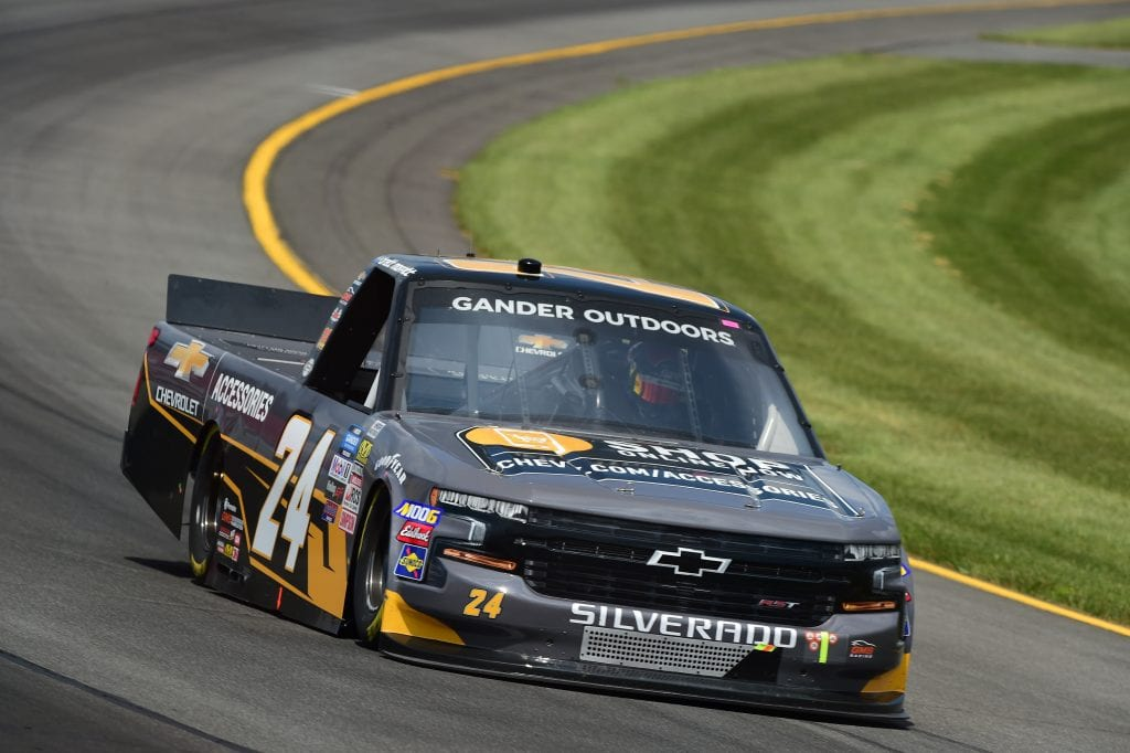 LONG POND, PENNSYLVANIA - JULY 26: Brett Moffitt, driver of the #24 Chevrolet Accessories Chevrolet, practices for the NASCAR Gander Outdoors Truck Series Gander RV 150 at Pocono Raceway on July 26, 2019 in Long Pond, Pennsylvania. (Photo by Jared C. Tilton/Getty Images)   Getty Images