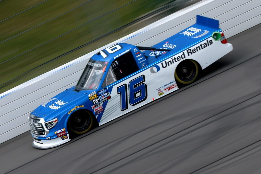 LONG POND, PENNSYLVANIA - JULY 26: Austin Hill, driver of the #16 United Rentals Toyota, practices for the NASCAR Gander Outdoors Truck Series Gander RV 150 at Pocono Raceway on July 26, 2019 in Long Pond, Pennsylvania. (Photo by Sean Gardner/Getty Images) | Getty Images