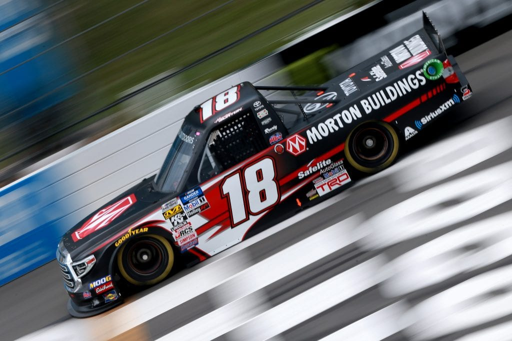 LONG POND, PENNSYLVANIA - JULY 26: Harrison Burton, driver of the #18 Morton Buildings Toyota, practices for the NASCAR Gander Outdoors Truck Series Gander RV 150 at Pocono Raceway on July 26, 2019 in Long Pond, Pennsylvania. (Photo by Sean Gardner/Getty Images) | Getty Images