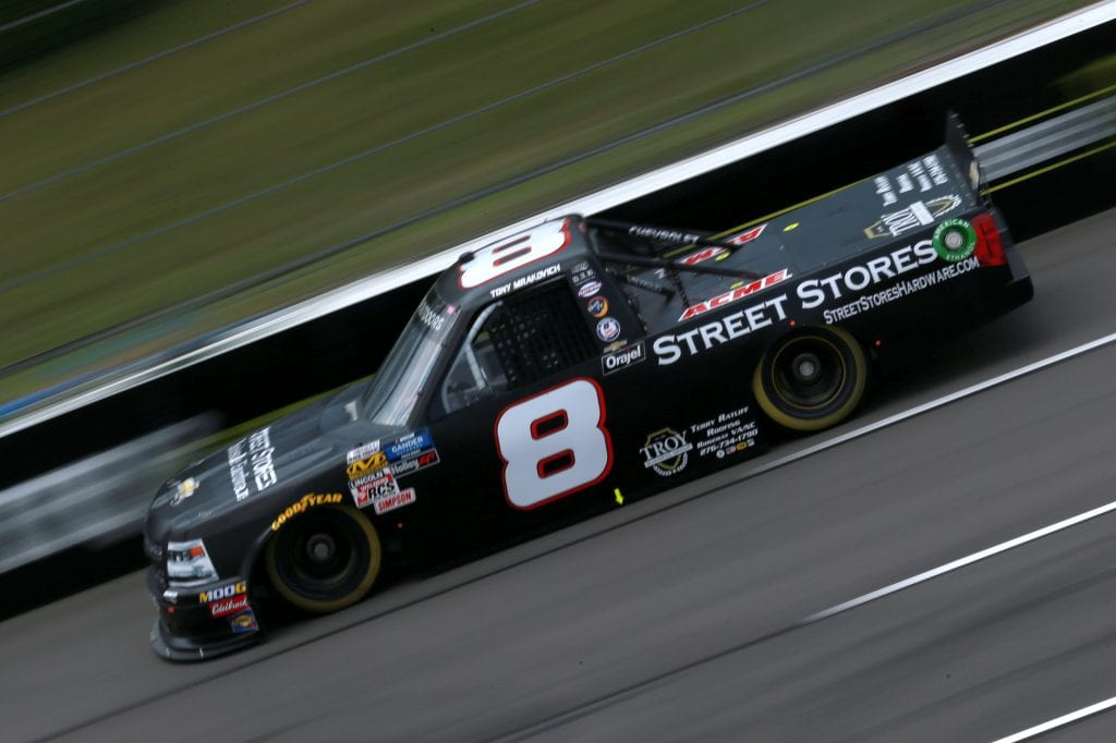 LONG POND, PENNSYLVANIA - JULY 26: Anthony Mrakovich, driver of the #8 Street Stores Wholesale Hardware Chevrolet, practices for the NASCAR Gander Outdoors Truck Series Gander RV 150 at Pocono Raceway on July 26, 2019 in Long Pond, Pennsylvania. (Photo by Sean Gardner/Getty Images) | Getty Images