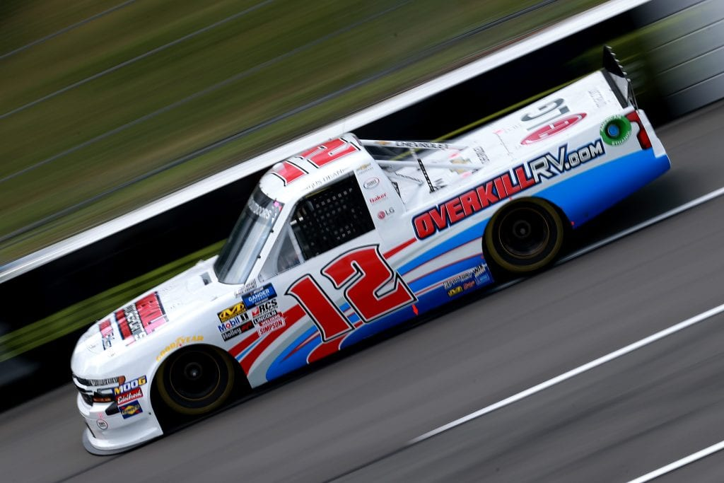 LONG POND, PENNSYLVANIA - JULY 26: Gus Dean, driver of the #12 OverkillRV.com Chevrolet, practices for the NASCAR Gander Outdoors Truck Series Gander RV 150 at Pocono Raceway on July 26, 2019 in Long Pond, Pennsylvania. (Photo by Sean Gardner/Getty Images) | Getty Images