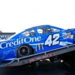 LONG POND, PENNSYLVANIA - JULY 27: The car of Kyle Larson, driver of the #42 Credit One Bank Chevrolet,  is unloaded in the garage after in incident during practice for the Monster Energy NASCAR Cup Series Gander RV 400 at Pocono Raceway on July 27, 2019 in Long Pond, Pennsylvania. (Photo by Chris Trotman/Getty Images) | Getty Images