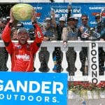 LONG POND, PENNSYLVANIA - JULY 27: Ross Chastain, driver of the #45 Niece/Acurlite Chevrolet, celebrates in Victory Lane after winning the NASCAR Gander Outdoors Truck Series Gander RV 150 at Pocono Raceway on July 27, 2019 in Long Pond, Pennsylvania. (Photo by Sean Gardner/Getty Images) | Getty Images