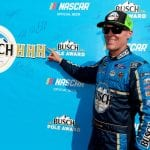 LONG POND, PENNSYLVANIA - JULY 27: Kevin Harvick, driver of the #4 Busch Beer Gen X Ford, celebrates with the Busch Pole Award after qualifying for the Monster Energy NASCAR Cup Series Gander RV 400 at Pocono Raceway on July 27, 2019 in Long Pond, Pennsylvania. (Photo by Sean Gardner/Getty Images) | Getty Images