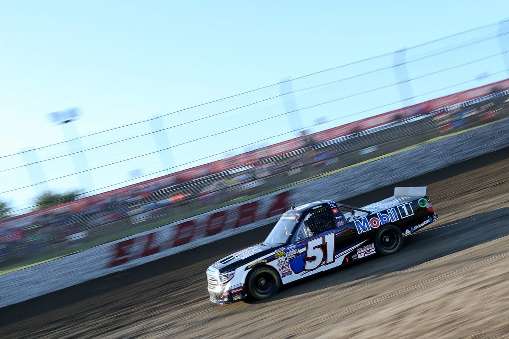 ROSSBURG, OHIO - JULY 31: Christian Eckes, driver of the #51 Mobil 1 Toyota, drives during practice for the NASCAR Gander Outdoor Truck Series Eldora Dirt Derby at Eldora Speedway on July 31, 2019 in Rossburg, Ohio. (Photo by Matt Sullivan/Getty Images) | Getty Images