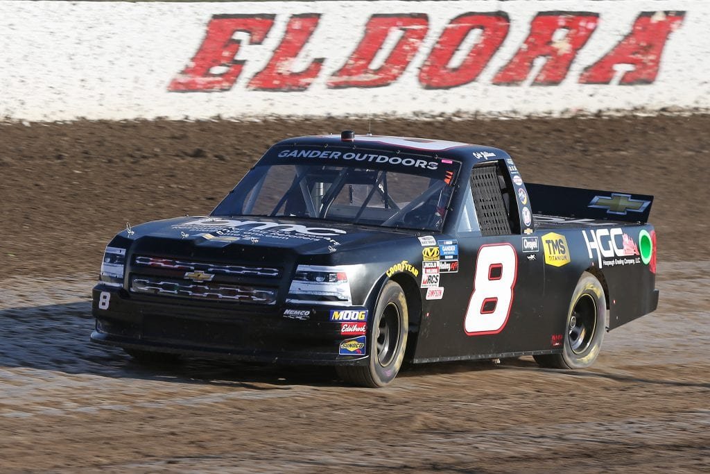 ROSSBURG, OHIO - JULY 31: Colt Gilliam, driver of the #8 Business Machines Co/Hoopaugh Grading Chevrolet, drives during practice for the NASCAR Gander Outdoor Truck Series Eldora Dirt Derby at Eldora Speedway on July 31, 2019 in Rossburg, Ohio. (Photo by Matt Sullivan/Getty Images) | Getty Images
