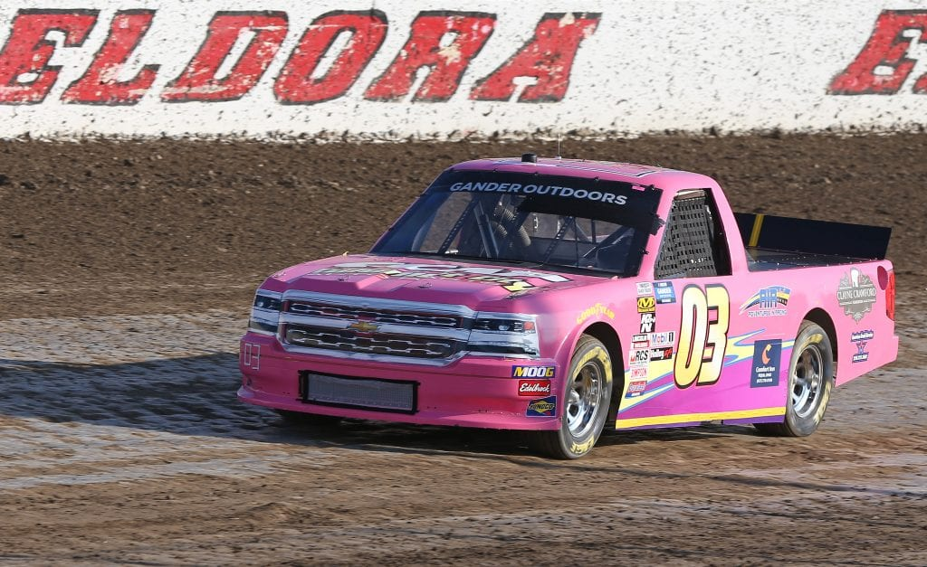 ROSSBURG, OHIO - JULY 31: Jake Griffin, driver of the #03 ClayneCrawfordFoundation.org Chevrolet, drives during practice for the NASCAR Gander Outdoor Truck Series Eldora Dirt Derby at Eldora Speedway on July 31, 2019 in Rossburg, Ohio. (Photo by Matt Sullivan/Getty Images) | Getty Images