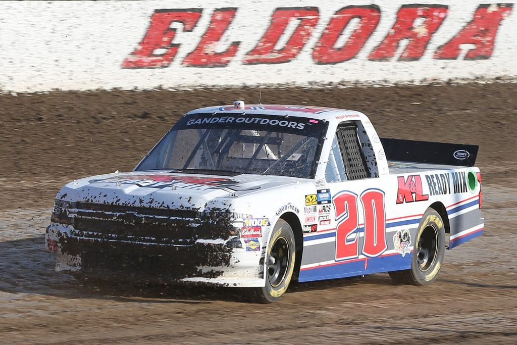 ROSSBURG, OHIO - JULY 31: Landon Huffman, driver of the #20 K&L Ready Mix Chevrolet, drives during practice for the NASCAR Gander Outdoor Truck Series Eldora Dirt Derby at Eldora Speedway on July 31, 2019 in Rossburg, Ohio. (Photo by Matt Sullivan/Getty Images) | Getty Images