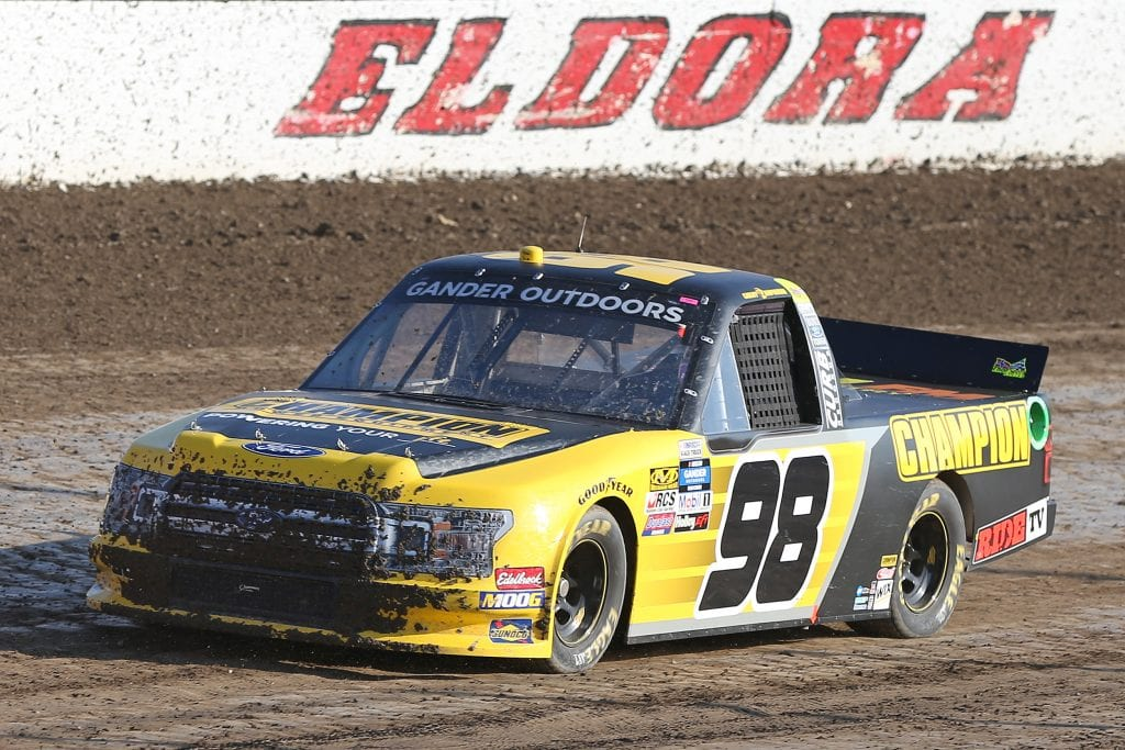 ROSSBURG, OHIO - JULY 31: Grant Enfinger, driver of the #98 Champion Power Equipment Ford, drives during practice for the NASCAR Gander Outdoor Truck Series Eldora Dirt Derby at Eldora Speedway on July 31, 2019 in Rossburg, Ohio. (Photo by Matt Sullivan/Getty Images) | Getty Images