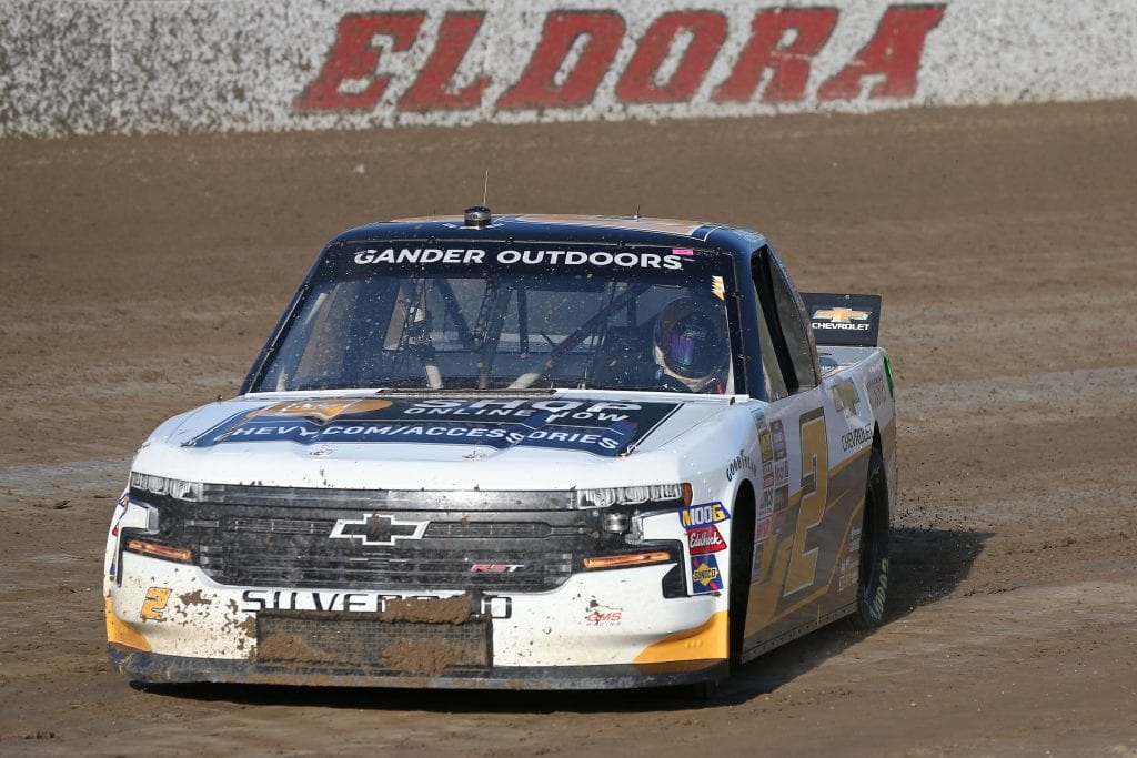 ROSSBURG, OHIO - JULY 31: Sheldon Creed, driver of the #2 Chevrolet Accessories Chevrolet, drives during practice for the NASCAR Gander Outdoor Truck Series Eldora Dirt Derby at Eldora Speedway on July 31, 2019 in Rossburg, Ohio. (Photo by Matt Sullivan/Getty Images) | Getty Images