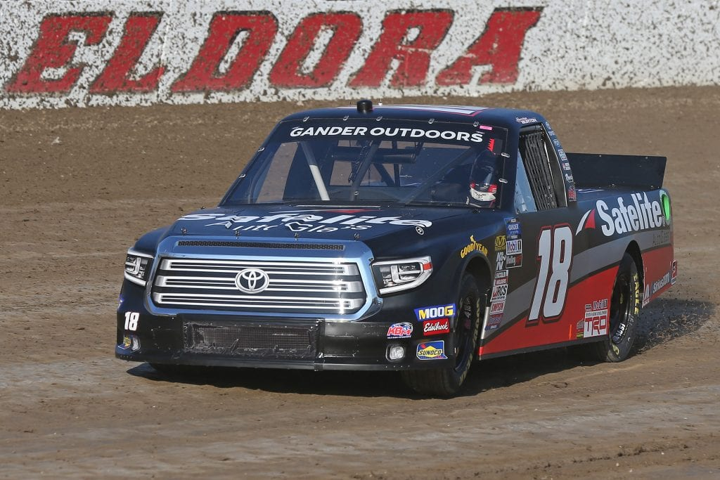 ROSSBURG, OHIO - JULY 31: Harrison Burton, driver of the #18 Safelite AutoGlass Toyota, drives during practice for the NASCAR Gander Outdoor Truck Series Eldora Dirt Derby at Eldora Speedway on July 31, 2019 in Rossburg, Ohio. (Photo by Matt Sullivan/Getty Images) | Getty Images