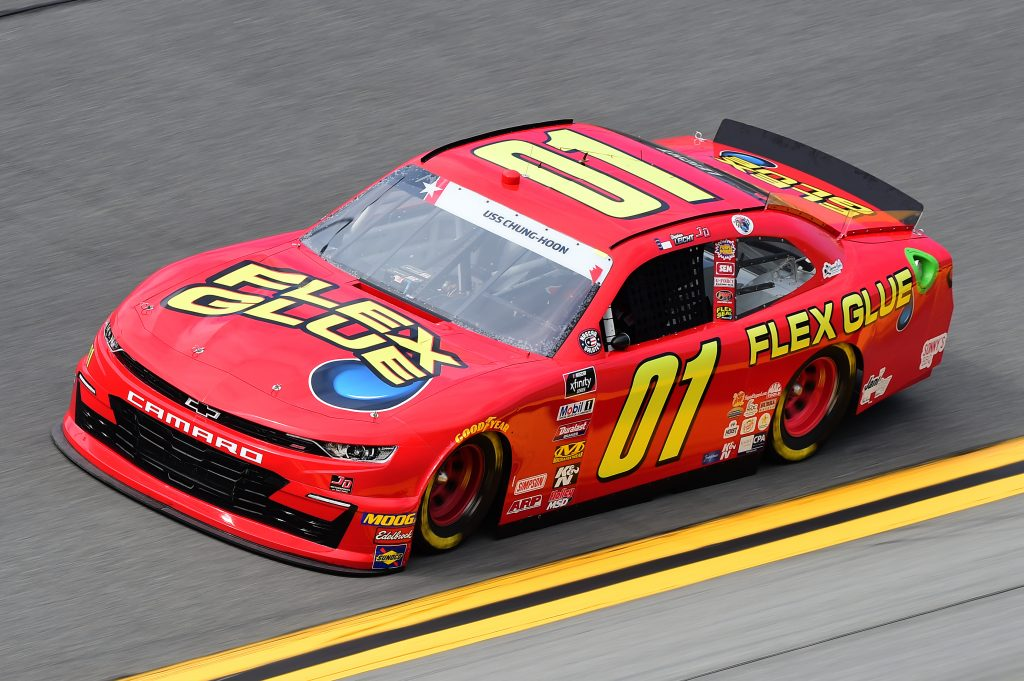 DAYTONA BEACH, FLORIDA - JULY 05: Stephen Leicht, driver of the #01 Flex Glue Chevrolet, qualifies for the NASCAR Xfinity Series Circle K Firecracker 250 Powered by Coca-Cola at Daytona International Speedway on July 05, 2019 in Daytona Beach, Florida. (Photo by Jared C. Tilton/Getty Images) | Getty Images