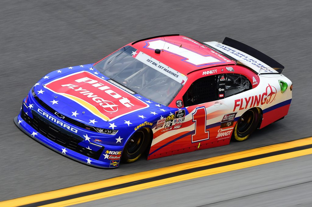 DAYTONA BEACH, FLORIDA - JULY 05: Michael Annett, driver of the #1 Pilot Flying J Chevrolet, qualifies for the NASCAR Xfinity Series Circle K Firecracker 250 Powered by Coca-Cola at Daytona International Speedway on July 05, 2019 in Daytona Beach, Florida. (Photo by Jared C. Tilton/Getty Images) | Getty Images