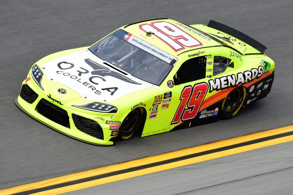 DAYTONA BEACH, FLORIDA - JULY 05: Brandon Jones, driver of the #19 Menards/ORCA Toyota, qualifies for the NASCAR Xfinity Series Circle K Firecracker 250 Powered by Coca-Cola at Daytona International Speedway on July 05, 2019 in Daytona Beach, Florida. (Photo by Jared C. Tilton/Getty Images) | Getty Images
