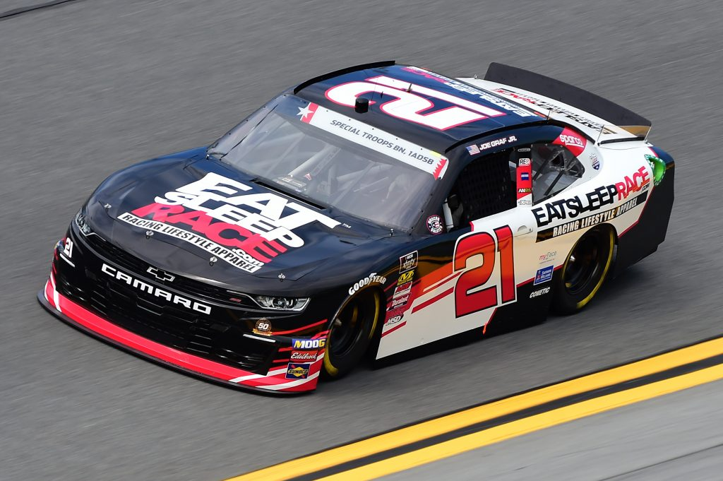 DAYTONA BEACH, FLORIDA - JULY 05: Joe Graf Jr., driver of the #21 Eat Sleep Race Chevrolet, qualifies for the NASCAR Xfinity Series Circle K Firecracker 250 Powered by Coca-Cola at Daytona International Speedway on July 05, 2019 in Daytona Beach, Florida. (Photo by Jared C. Tilton/Getty Images) | Getty Images