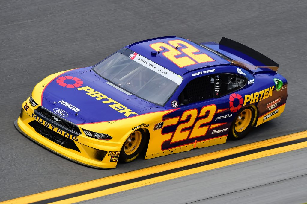 DAYTONA BEACH, FLORIDA - JULY 05: Austin Cindric, driver of the #22 Pirtek Ford, qualifies for the NASCAR Xfinity Series Circle K Firecracker 250 Powered by Coca-Cola at Daytona International Speedway on July 05, 2019 in Daytona Beach, Florida. (Photo by Jared C. Tilton/Getty Images) | Getty Images