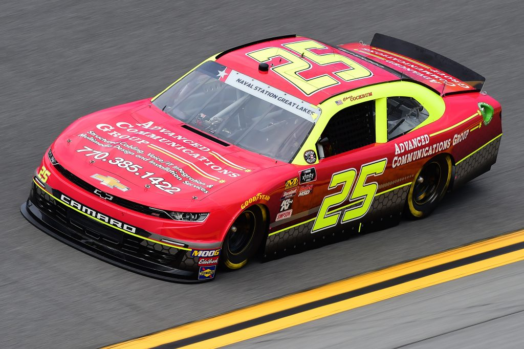 DAYTONA BEACH, FLORIDA - JULY 05: Chris Cockrum, driver of the #25 Advanced Communications Group Chevrolet, qualifies for the NASCAR Xfinity Series Circle K Firecracker 250 Powered by Coca-Cola at Daytona International Speedway on July 05, 2019 in Daytona Beach, Florida. (Photo by Jared C. Tilton/Getty Images) | Getty Images
