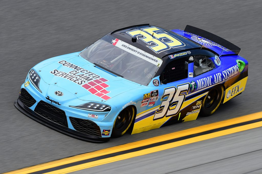 DAYTONA BEACH, FLORIDA - JULY 05: Joey Gase, driver of the #35 ConnectedClaimServices/MedicAirSys Toyota, qualifies for the NASCAR Xfinity Series Circle K Firecracker 250 Powered by Coca-Cola at Daytona International Speedway on July 05, 2019 in Daytona Beach, Florida. (Photo by Jared C. Tilton/Getty Images) | Getty Images